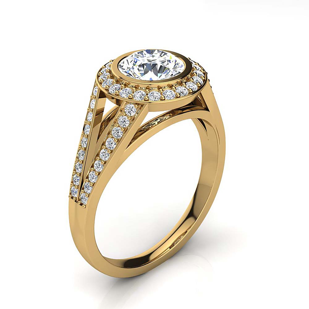 LUXURMAN Halo Round Diamond Engagement Ring 1.35ct G/VS Diamonds 18K Gold Yellow Image