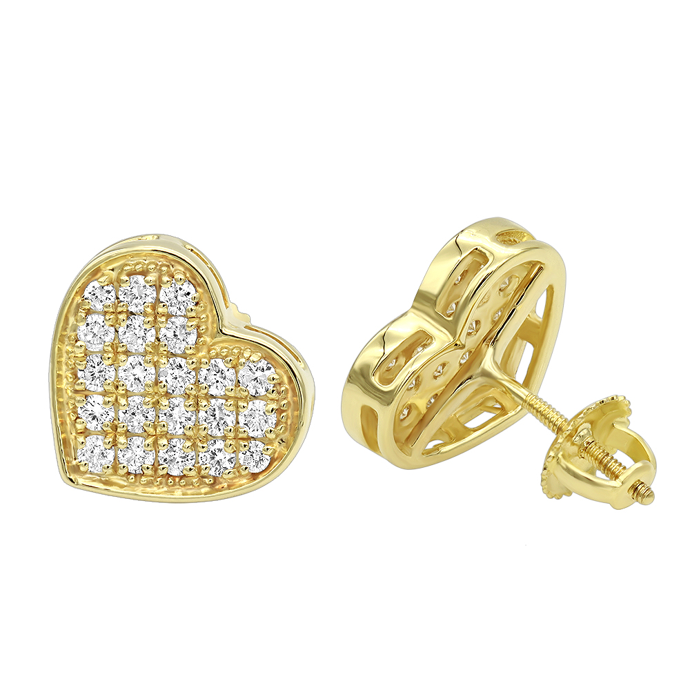 Luxurman Heart Shaped Diamond Earrings for Women 14k Gold Studs 0.76ct Yellow Image