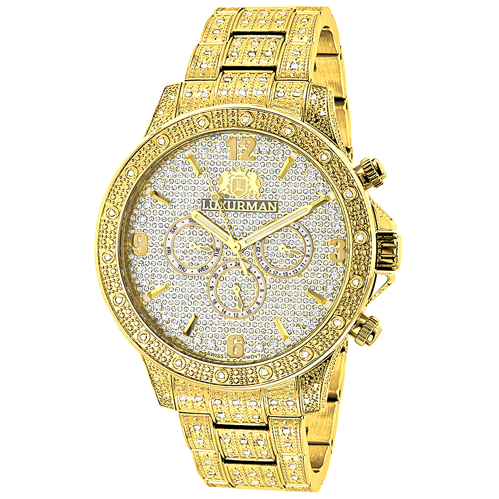Luxurman Iced Out Mens Diamond Liberty Watch 1.25ct Yellow Gold Plated