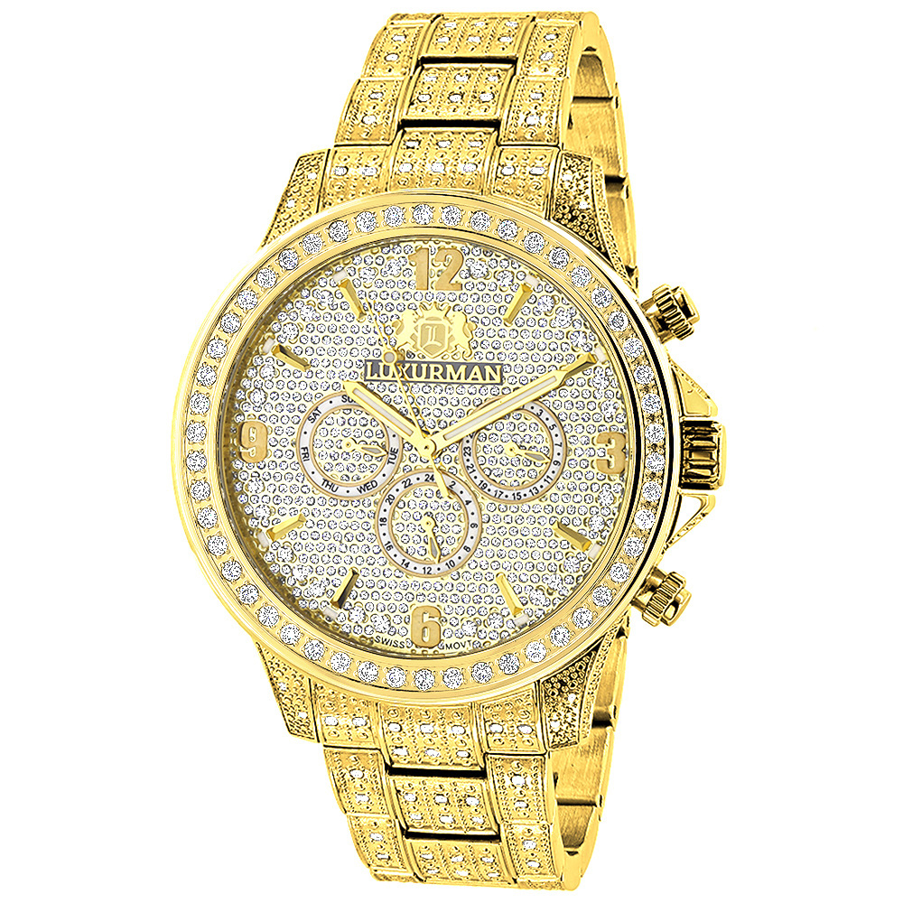 Luxurman iced out mens diamond watch 3ct yellow gold for Diamond watches