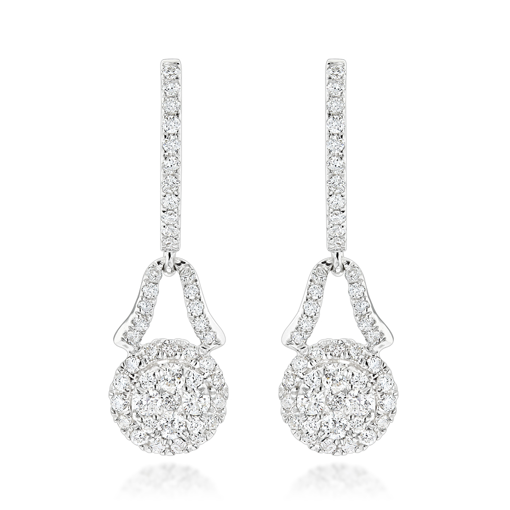 Luxurman Ladies Cluster Diamond Drop Earrings 1.1ct 14K Gold White Image