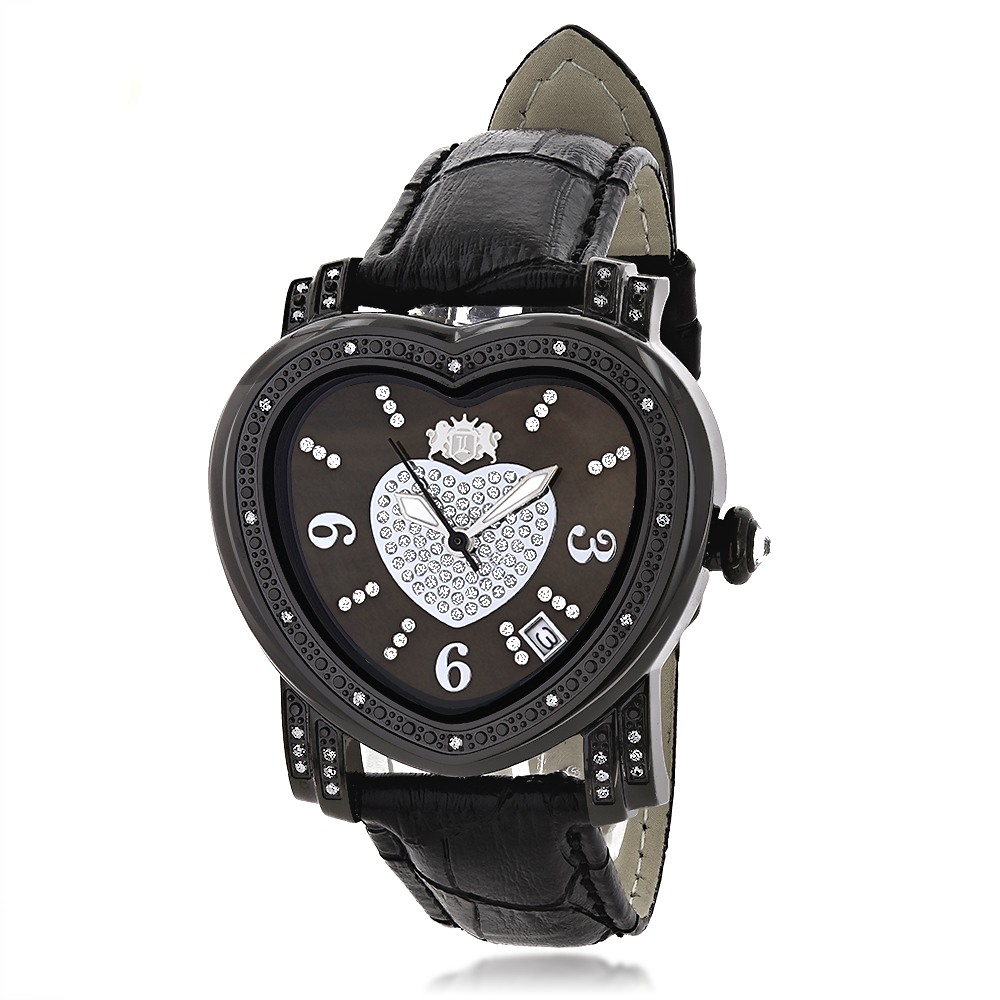 Luxurman Ladies Diamond Heart Watch 0.25ct Black MOP Main Image