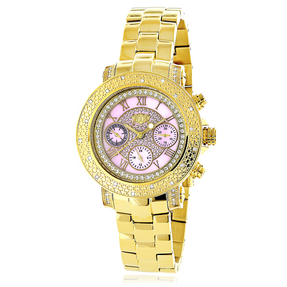Luxurman Ladies Diamond Watch 0.3ct Pink MOP Yellow Gold Plated Main Image