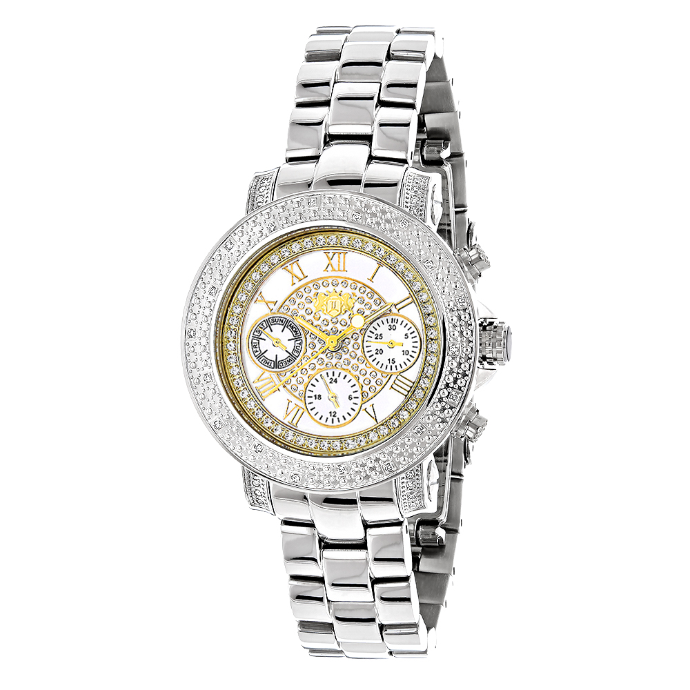 Luxurman Ladies Diamond Watch 0.3ct Two Tone Main Image