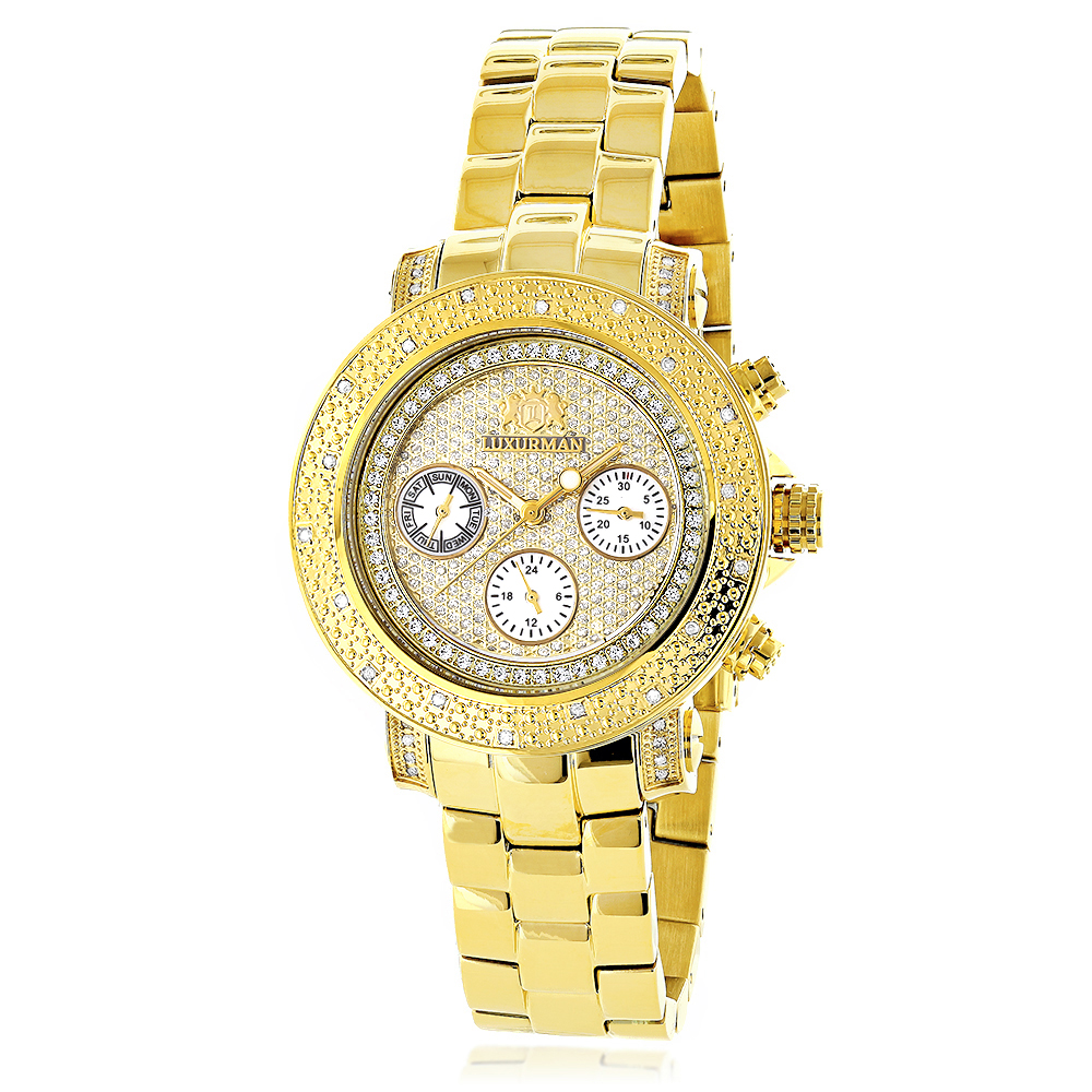 Luxurman Ladies Diamond Watch 0.3ct Yellow Gold Plated Main Image