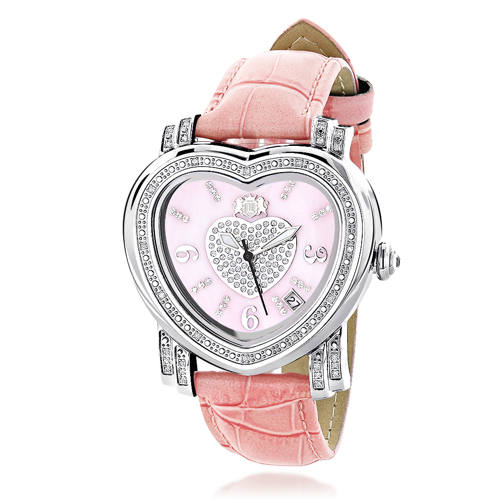 Luxurman Ladies Heart Diamond Watch 0.30ct Pink Main Image