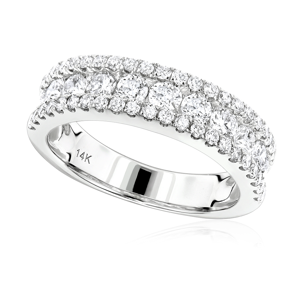 Luxurman Ladies Rings: 14K Gold Round Diamond Wedding Band for Women 1.65ct White Image