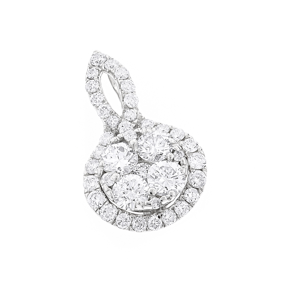 Luxurman Ladies Round  Diamond Drop Circle Pendant 1 Carat 14K Gold White Image
