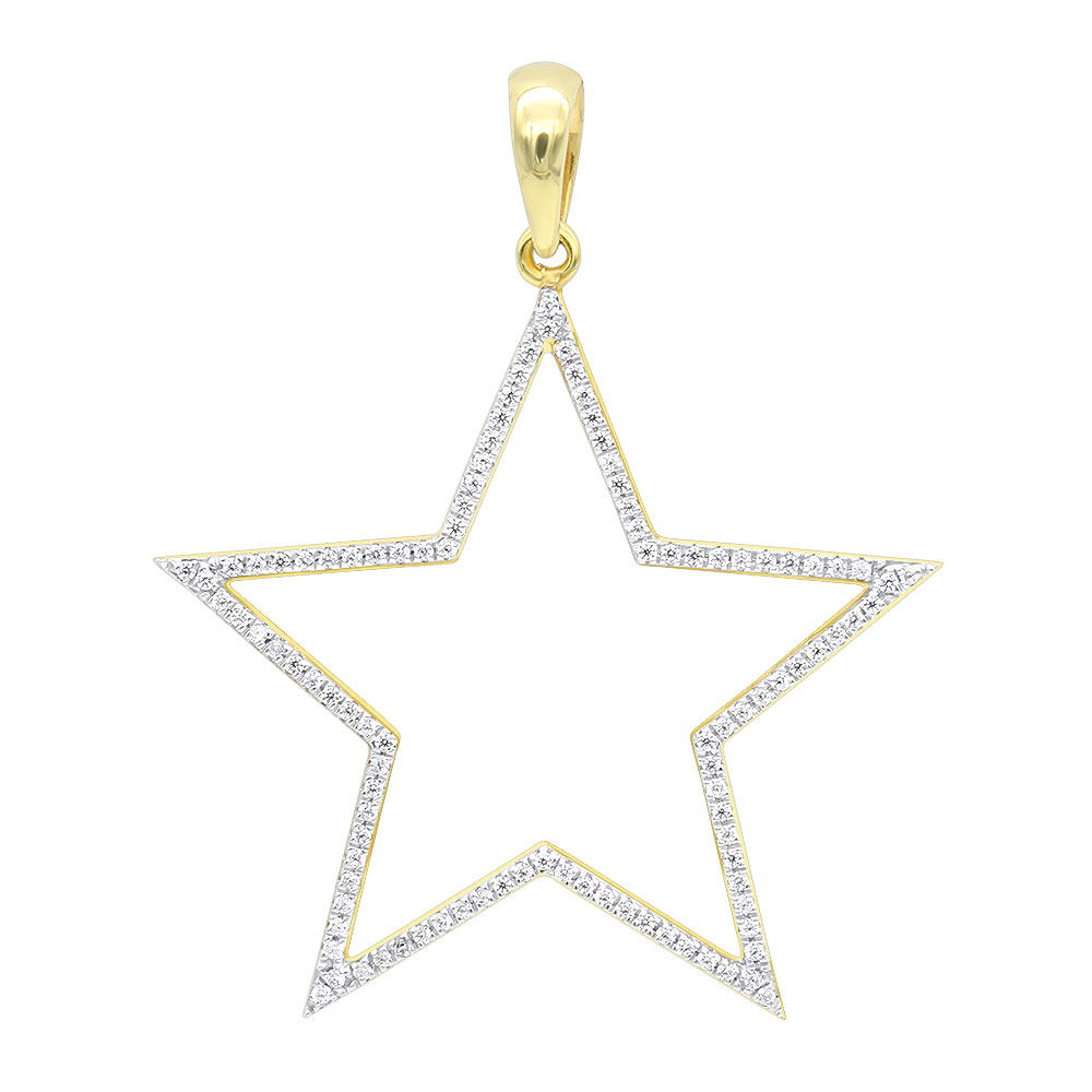 LUXURMAN Large Allure Diamond Five-Pointed Star Pendant in 14K Gold 0.35ct Yellow Image