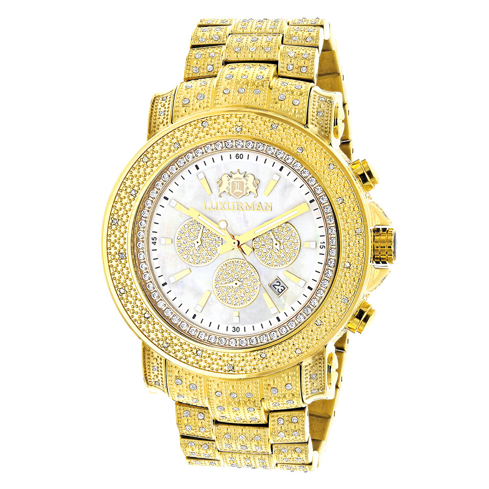 Luxurman Large Iced Out Mens Diamond Watch Yellow Gold Plated White MOP 2ct