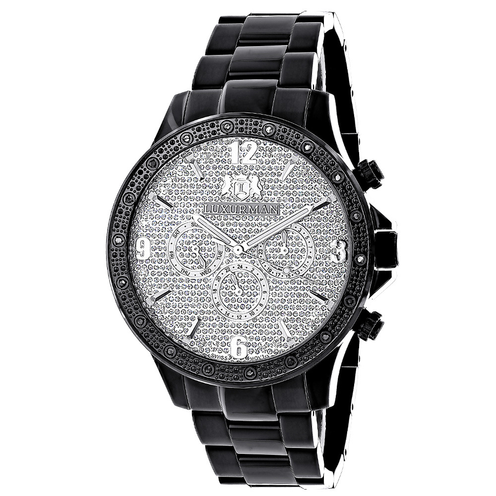 Luxurman Liberty Black Diamond Watch For Men 1/4ct Main Image