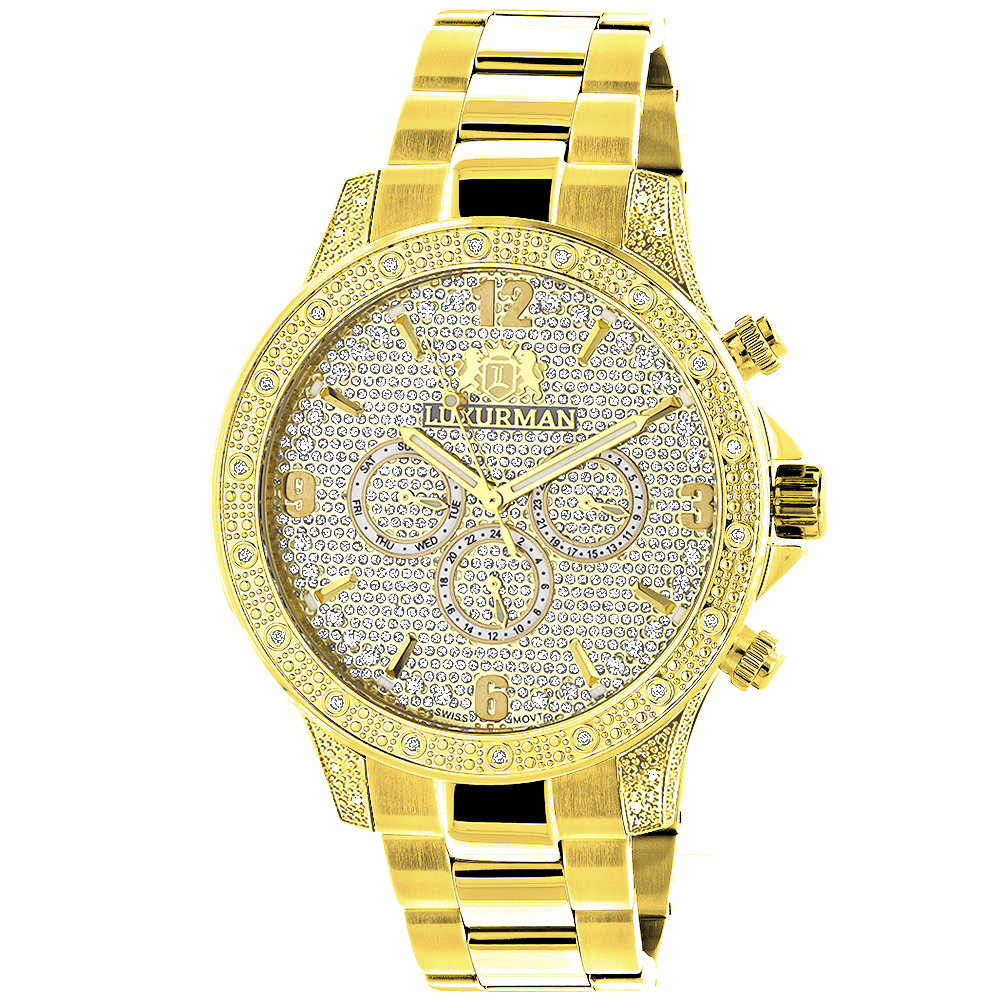Luxurman Liberty Mens Diamond Watch 0.5ct Yellow Gold Plated Main Image