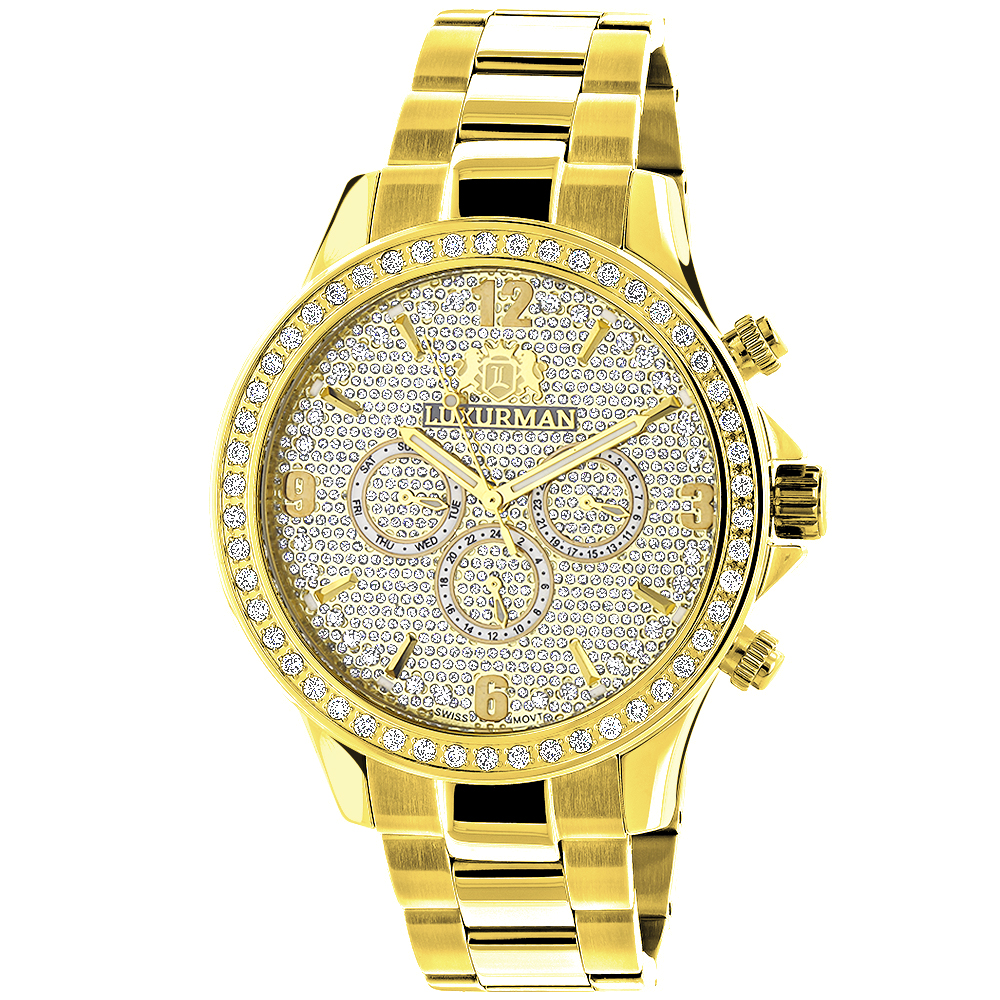 Luxurman Liberty Mens Diamond Watch 2ct 18k Yellow Gold Plated Main Image