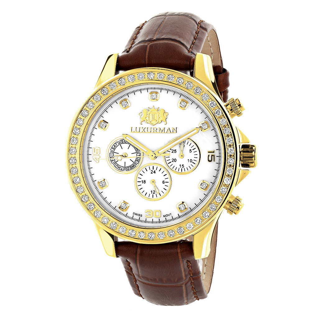 Luxurman Liberty Mens Diamond Watch Yellow Gold Plated 2ct Swiss Mvt Main Image