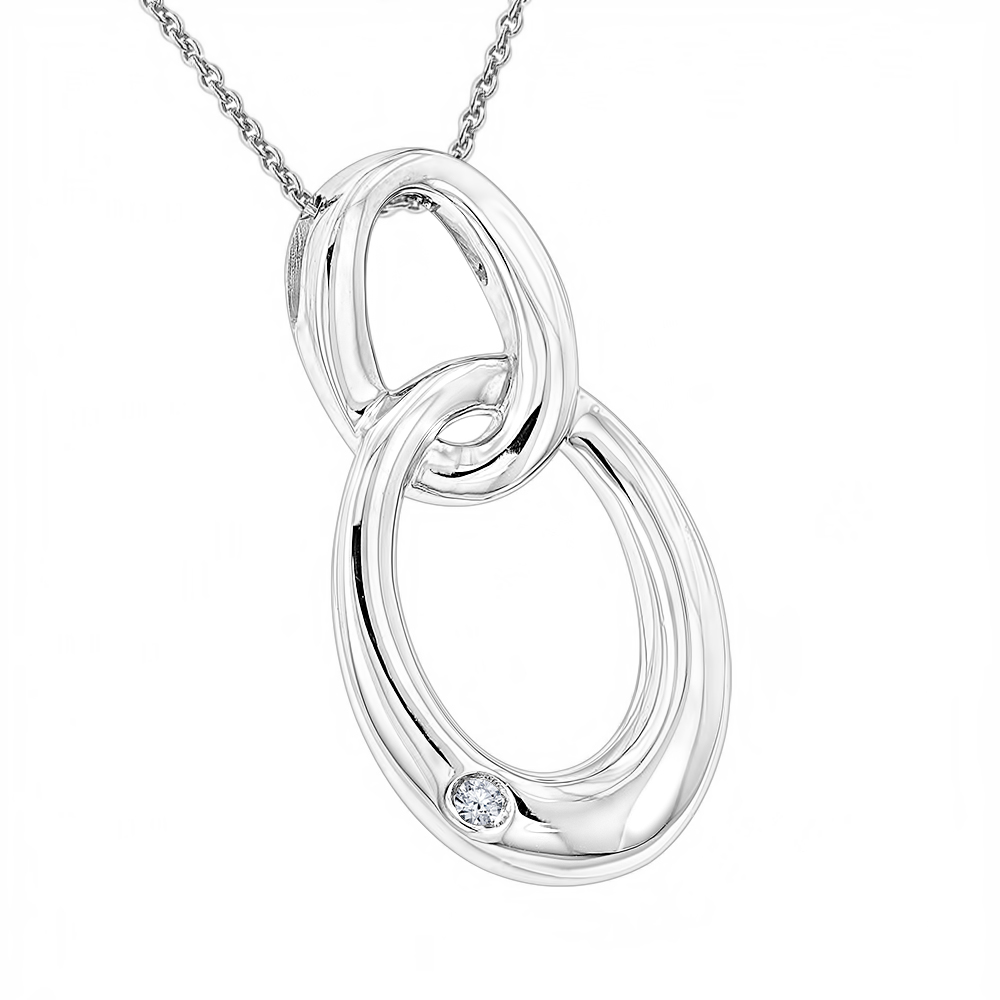 Luxurman Love Quotes Diamond Interlocking Ovals Pendant Necklace with Chain