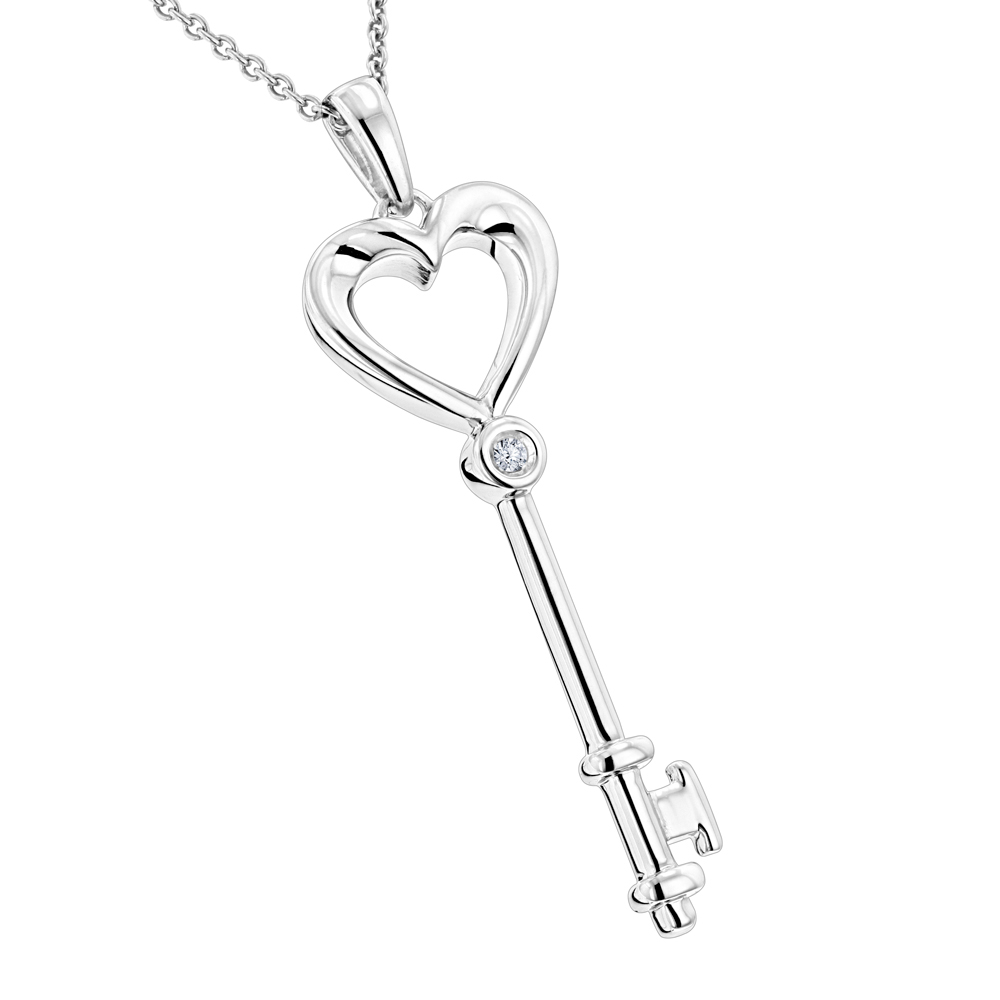 Luxurman Love Quotes Necklace Sterling Silver Diamond Key Pendant for Women Main Image
