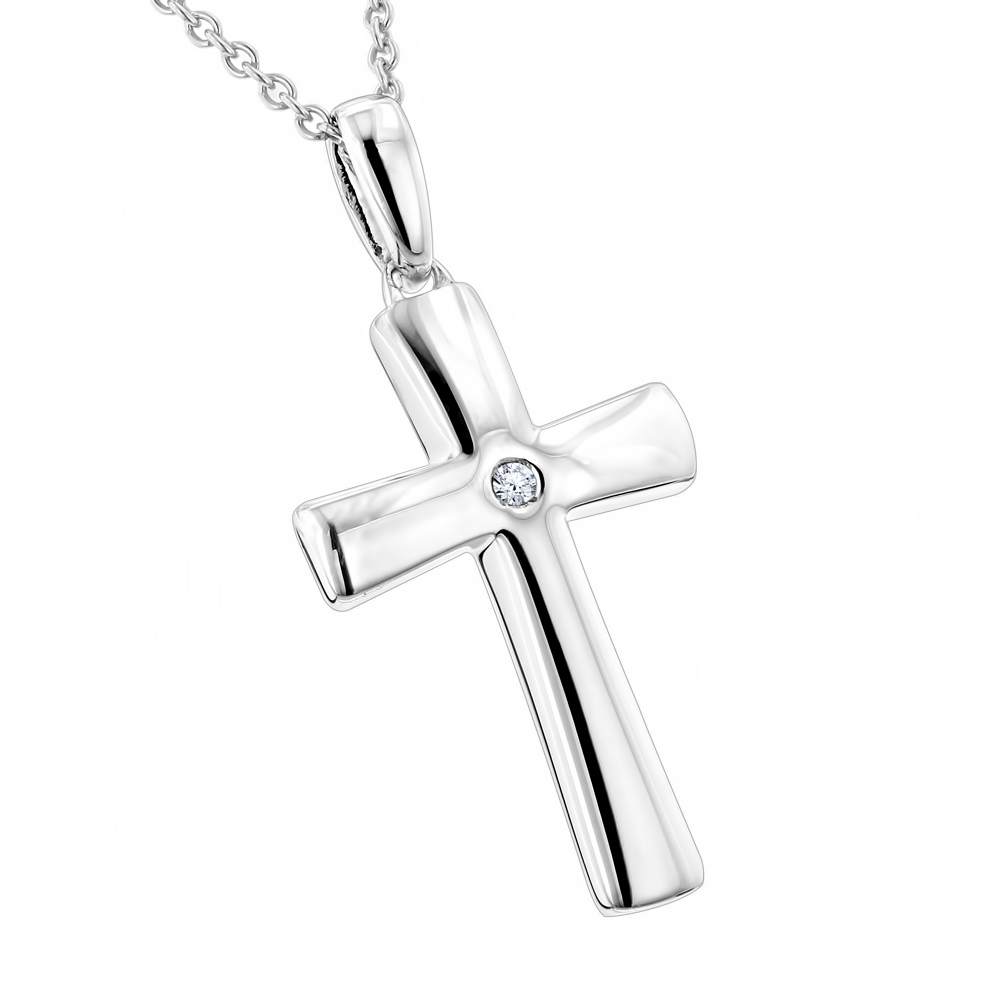 Luxurman Love Quotes Necklaces: Small Sterling Silver Diamond Cross Pendant Main Image