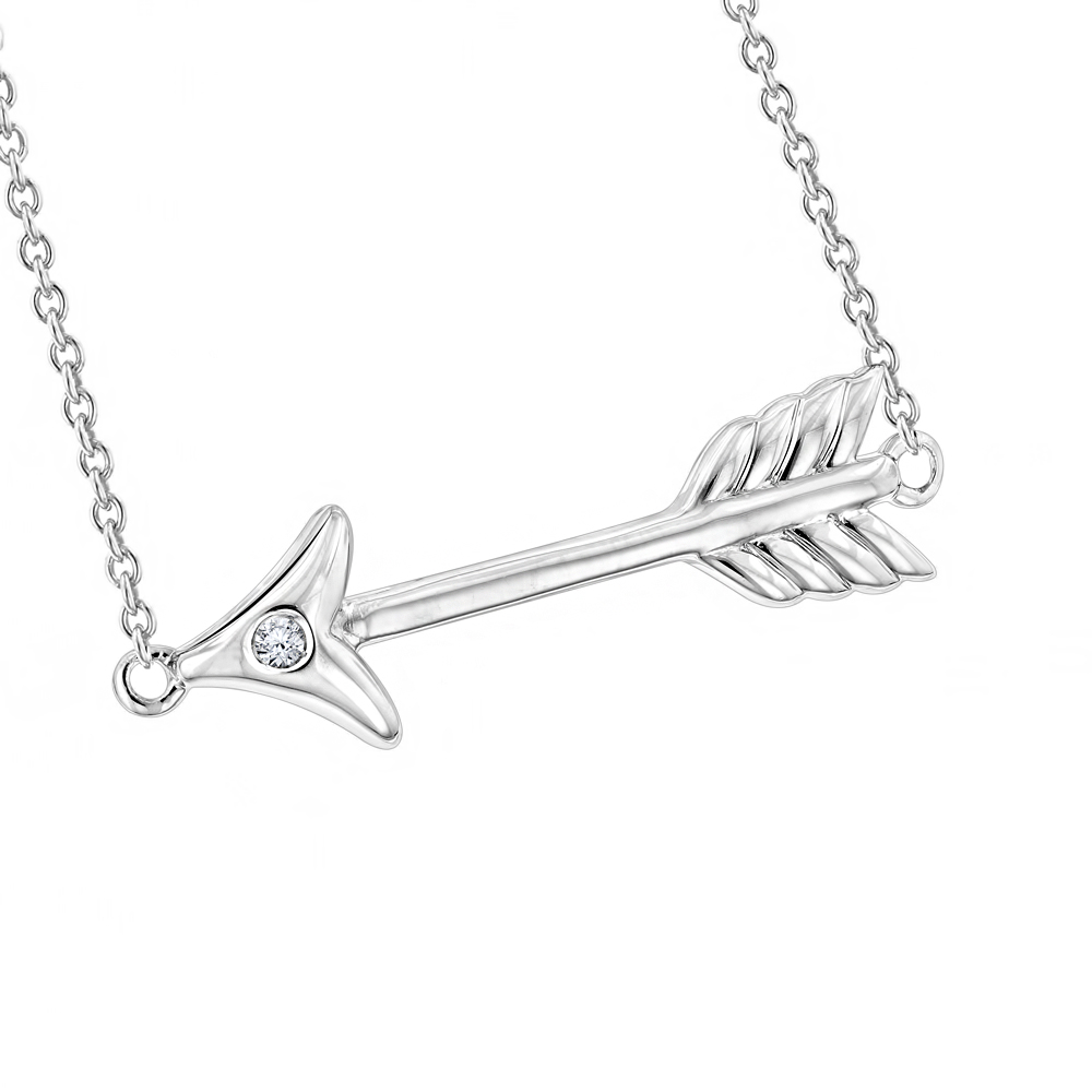 Luxurman Love Quotes Necklaces Sterling Silver Diamond Arrow Pendant Main Image
