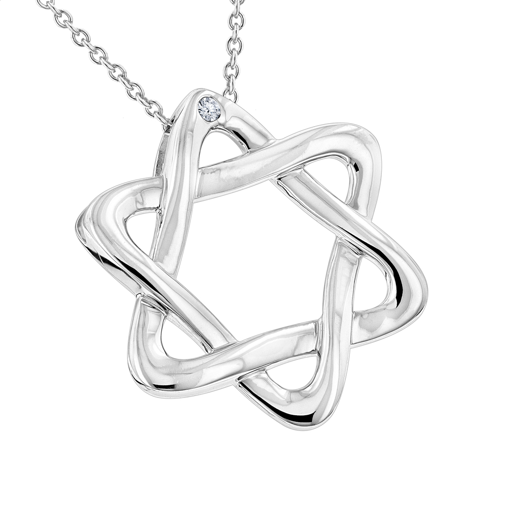 Luxurman Love Quotes Necklaces Sterling Silver Diamond Star of David Pendant Main Image