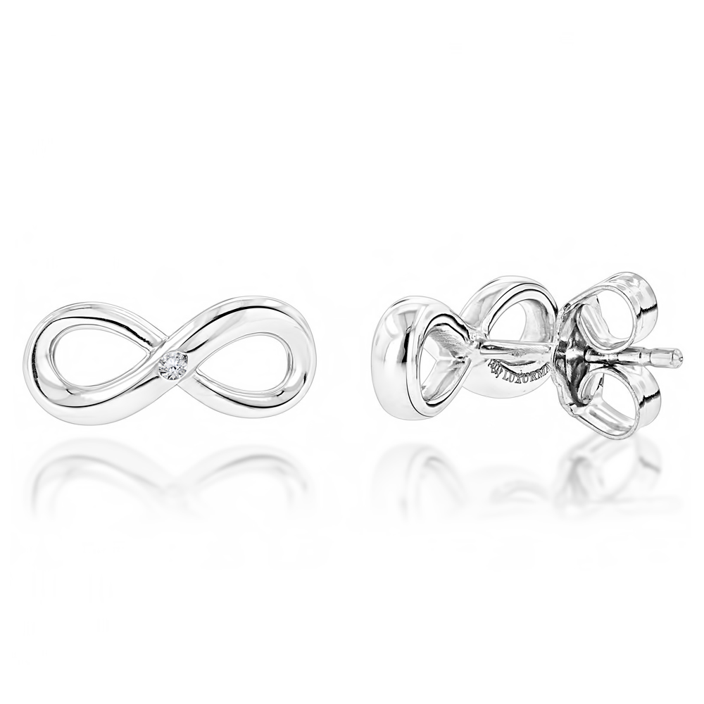 Luxurman Love Quotes: Small Diamond Infinity Earrings Sterling Silver Studs Main Image