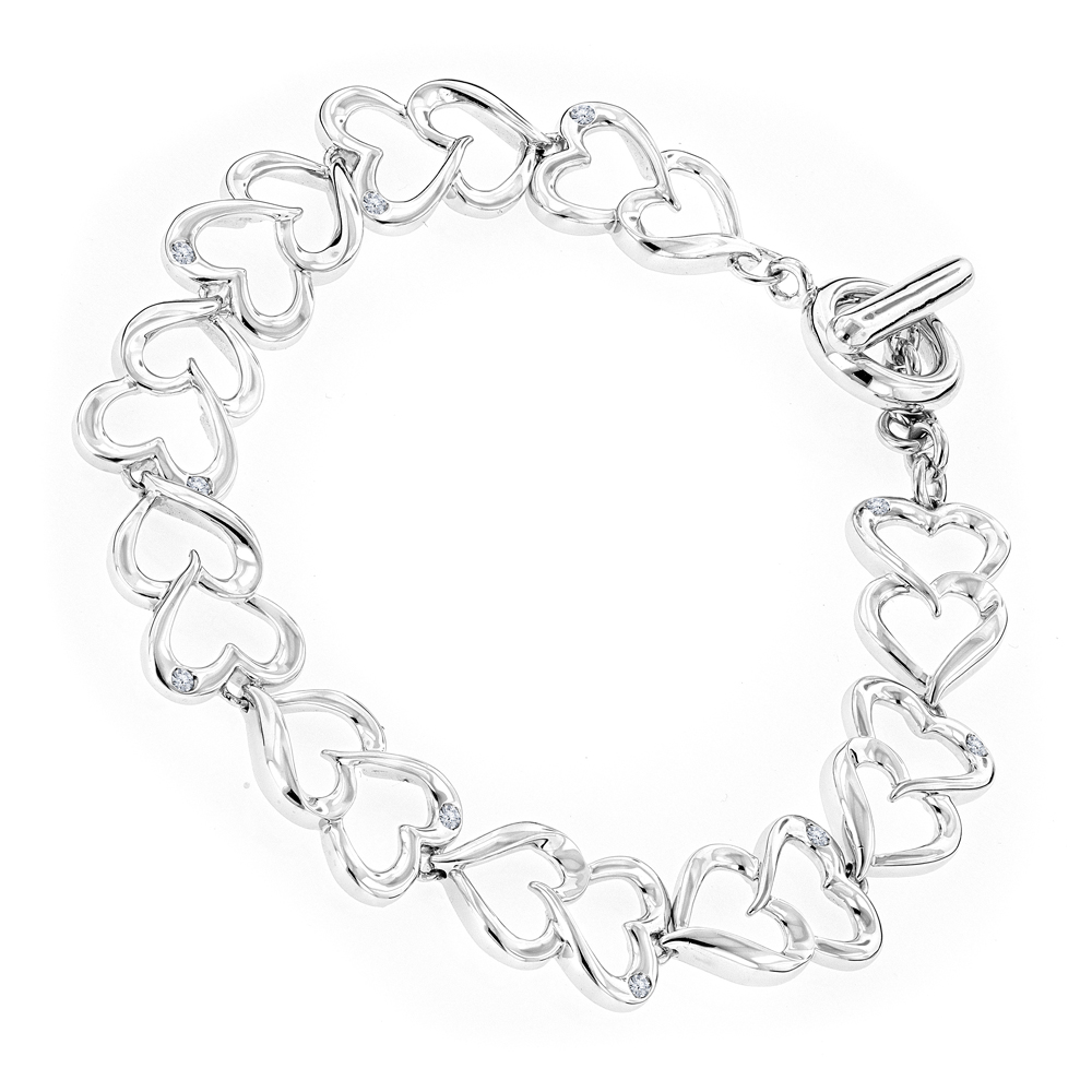Luxurman Love Quotes: Sterling Silver Diamond Heart Bracelet for Women Main Image