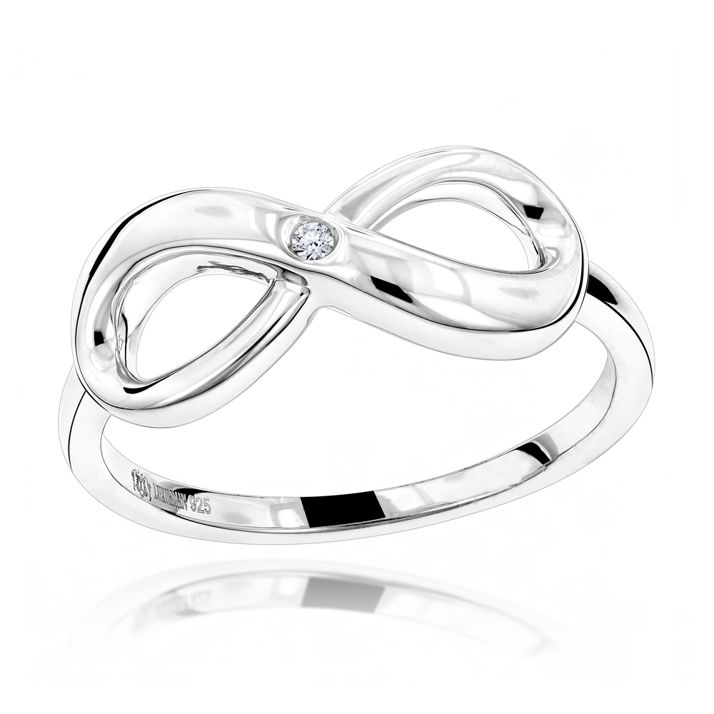 Luxurman Love Quotes: Sterling Silver Infinity Diamond Ring For Women Main Image