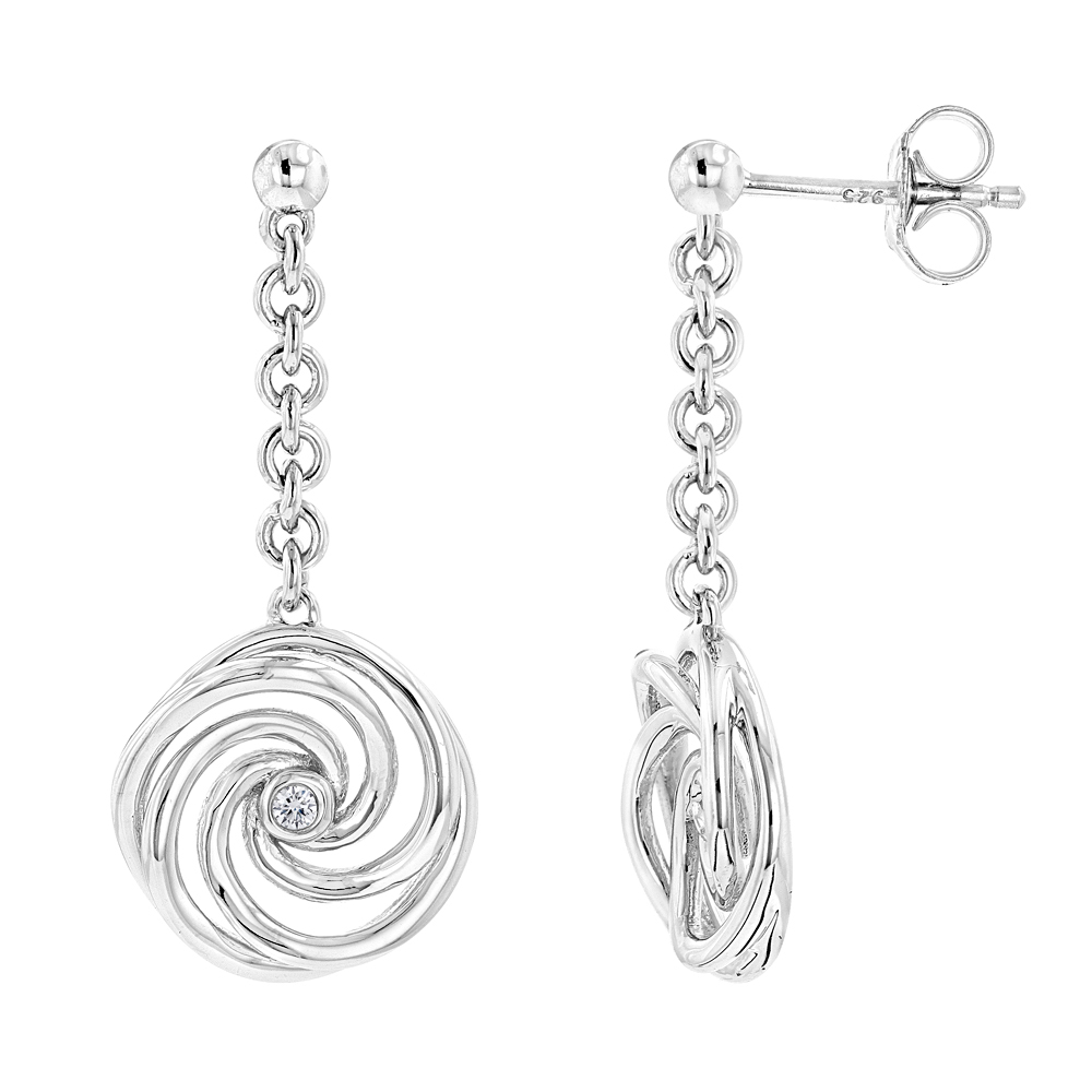 Luxurman Love Quotes Sterling Silver Swirl Diamond Drop Earrings Womens Main Image