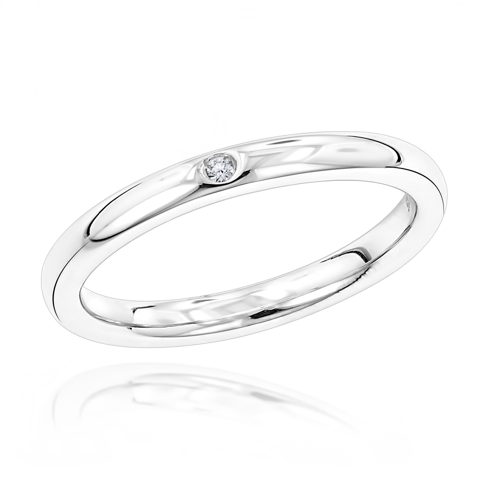 Luxurman Love Quotes: Womens Stackable Sterling Silver Diamond Wedding Ring Main Image