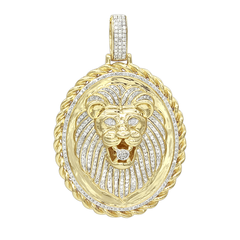LUXURMAN Medallion 14K Gold Real Diamond Lions Head Pendant  1ct Yellow Image