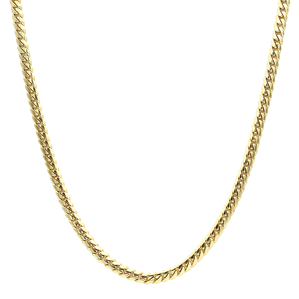 Luxurman Men's Gold Chains Solid 14k Gold Miami Cuban Link Chain 7mm 22-40in Yellow Image