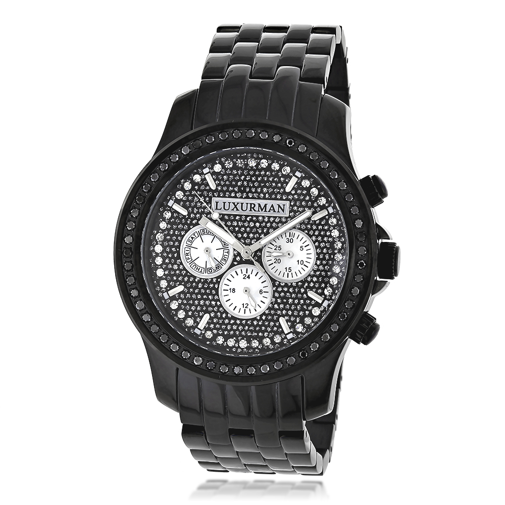 Luxurman Mens Black Diamond Watch 2.25ct Main Image