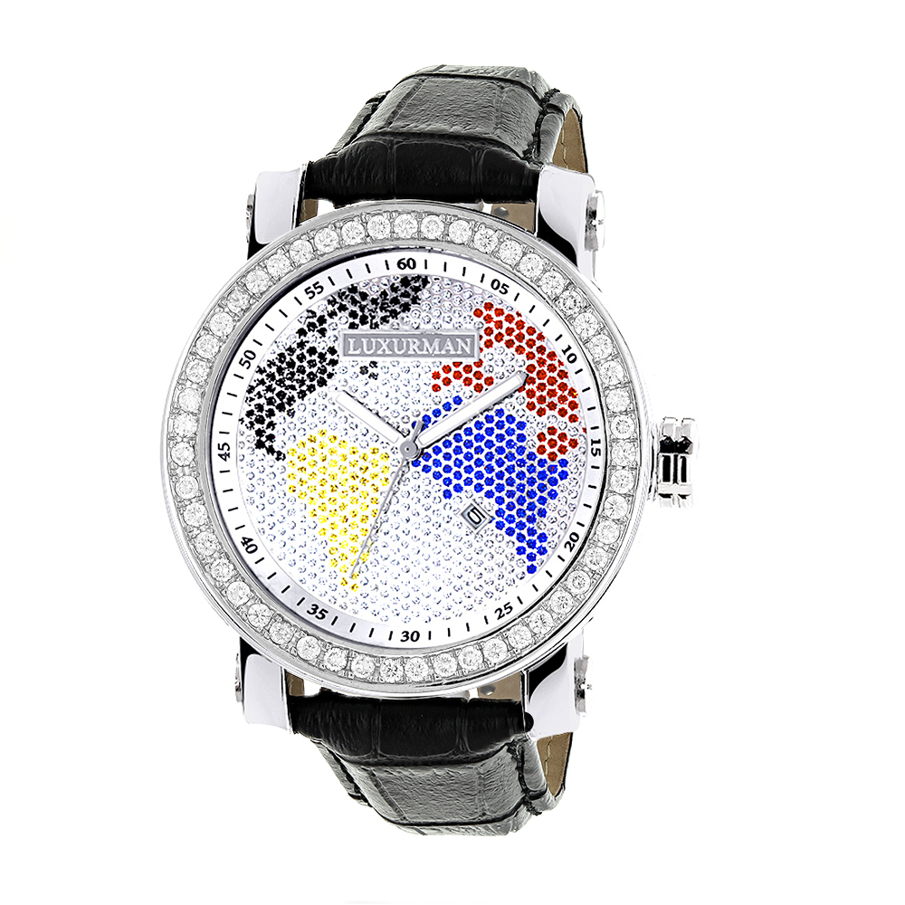 Luxurman Mens Continents VS Diamond Bezel Watch 4 ct