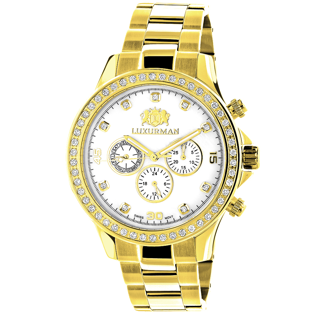 Luxurman Mens Diamond Liberty Watch 2ct Yellow Gold Plated White MOP Main Image