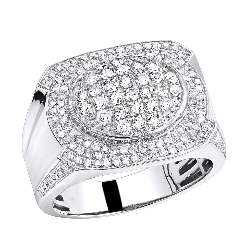 Luxurman Mens Diamond Ring in Solid 10k Gold 1.5ct White Image