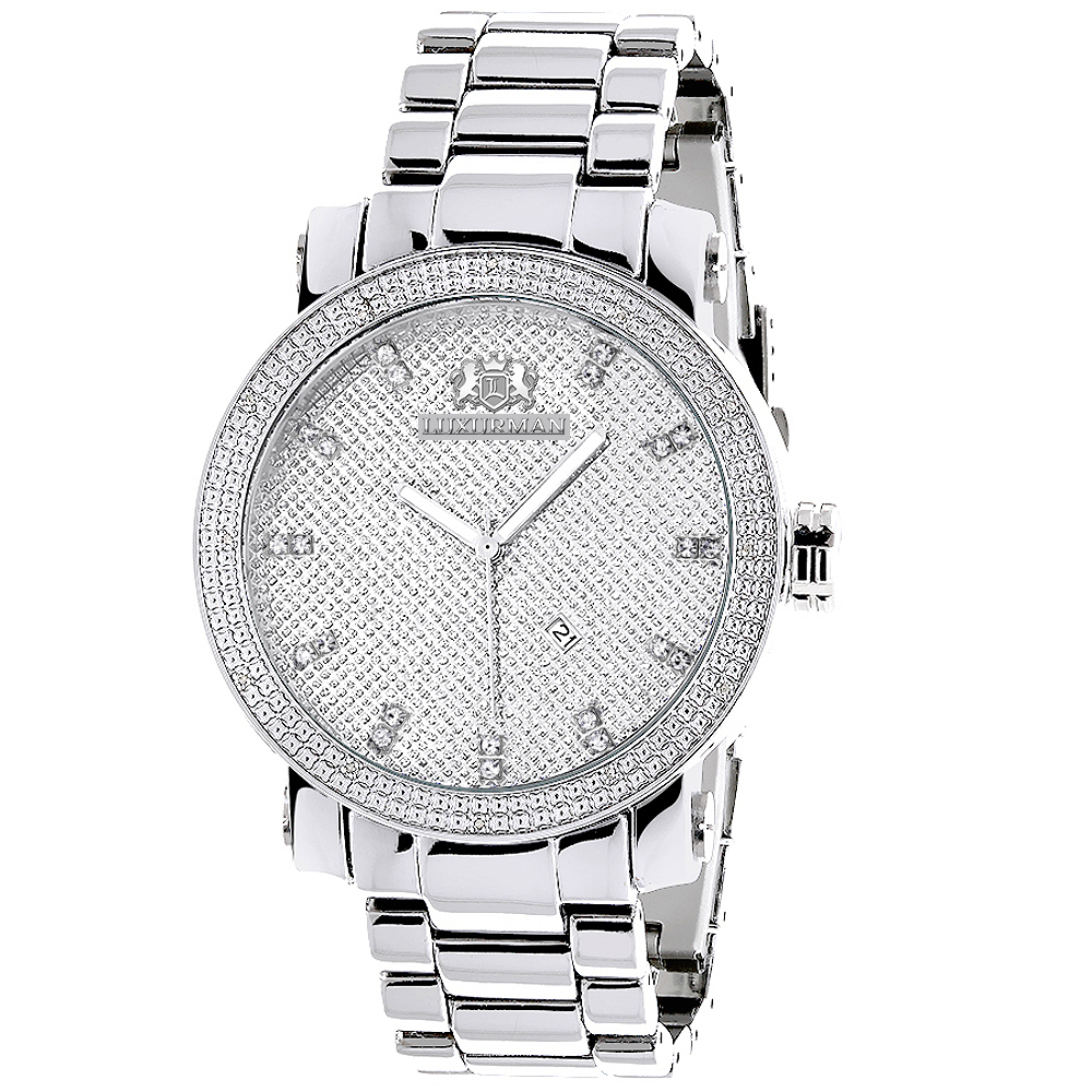 Luxurman Mens Diamond Watch 0.12ct Stainless Steel Band Main Image