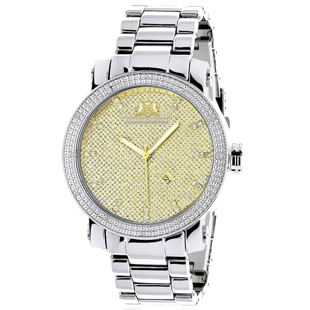 Luxurman Mens Diamond Watch 0.12ct Two-Tone Gold Plated Stainless Steel Main Image