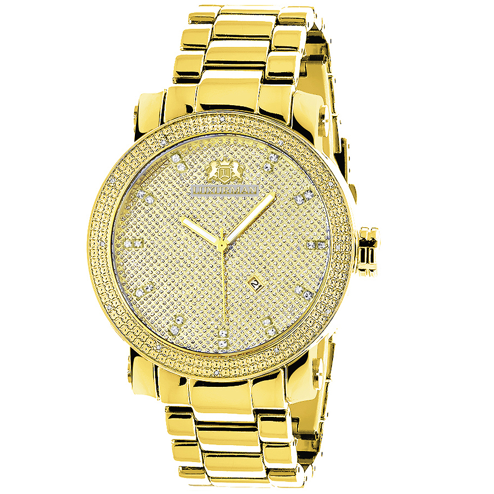 Large Luxurman Mens Diamond Watch 0.12ct Yellow Gold Plated Phantom Main Image