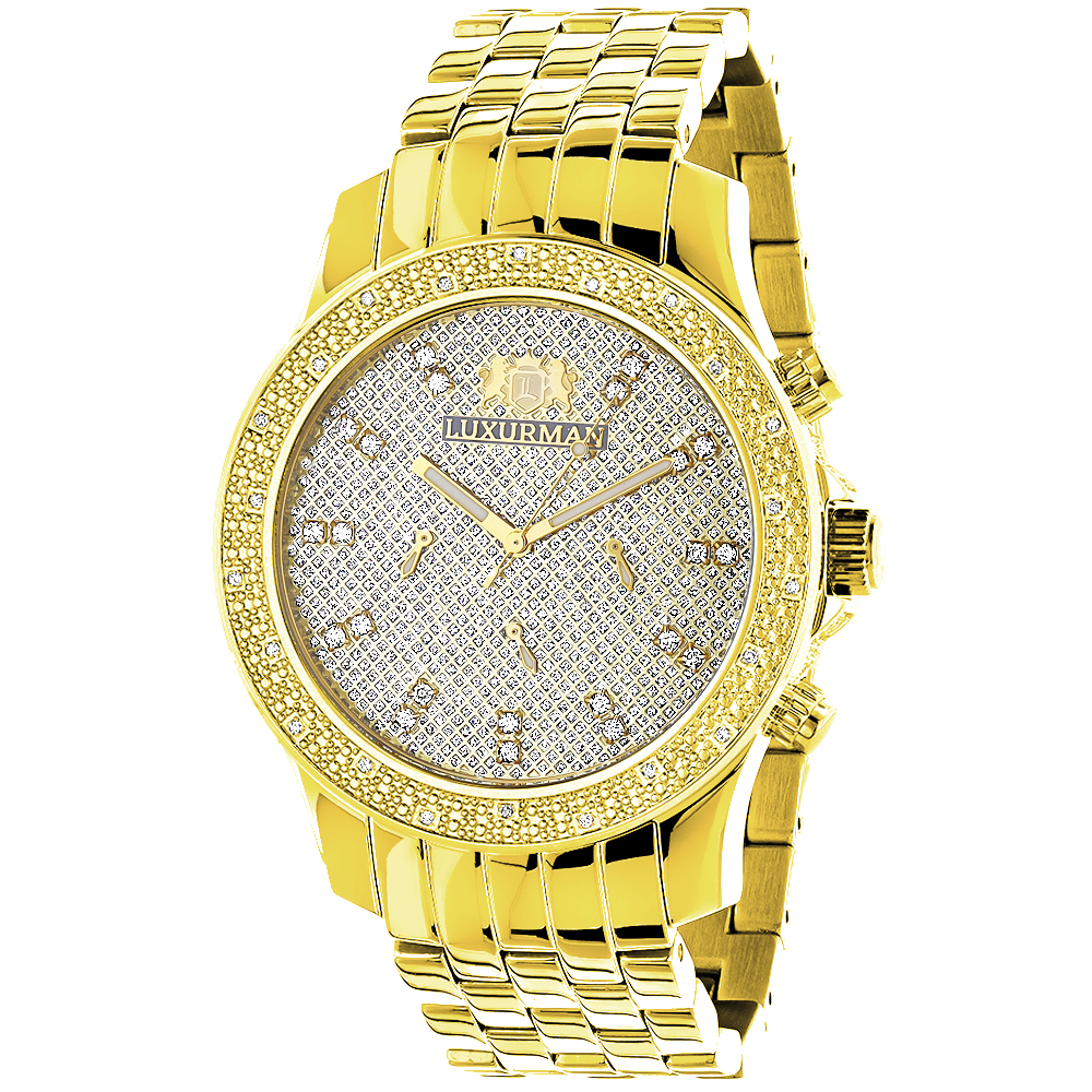 Luxurman Mens Diamond Watch 0.25ct Yellow Gold Tone Main Image