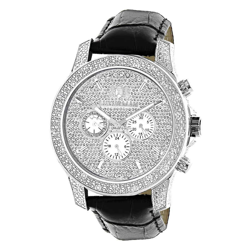 Luxurman Mens Diamond Watch 0.50 ct Freeze