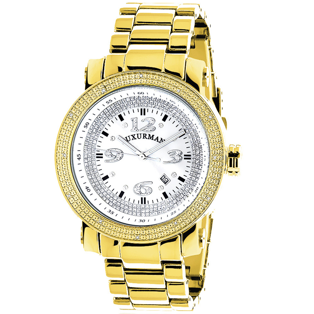 Luxurman Mens Diamond Watch Yellow Gold Plated 0.12ct Main Image