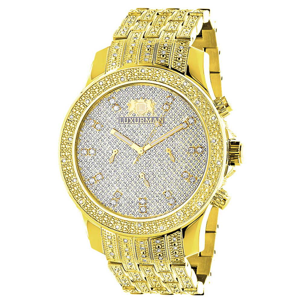 luxurman mens diamond watch yellow gold tone 1ct. Black Bedroom Furniture Sets. Home Design Ideas