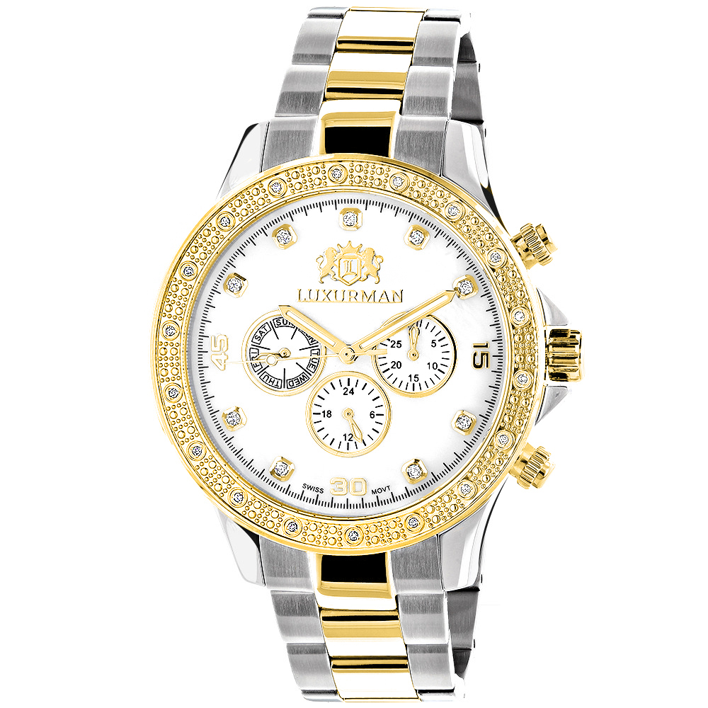 Luxurman Mens Diamond Watches: 18k Yellow White Gold Plated Swiss Quartz Liberty