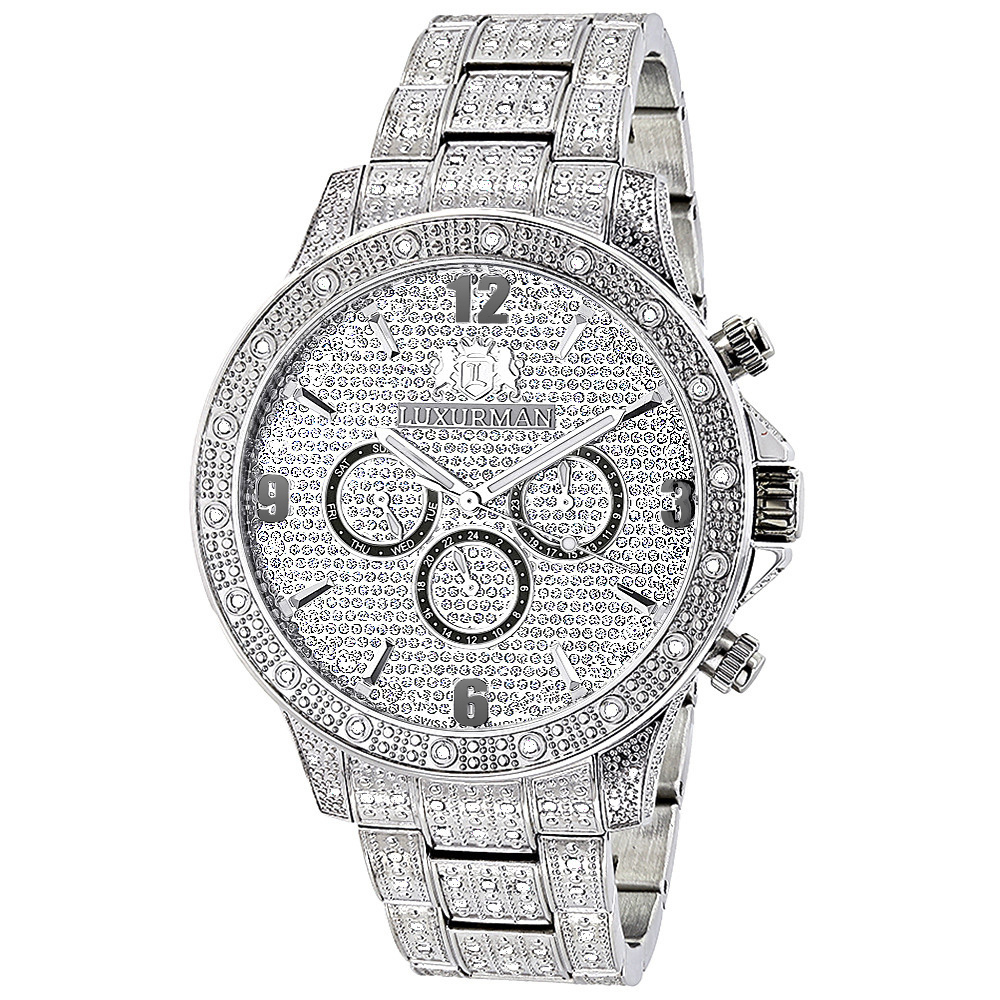 Luxurman Mens Diamond Watches: Swiss Quartz Fully Iced Out Watch 1.25ct Main Image