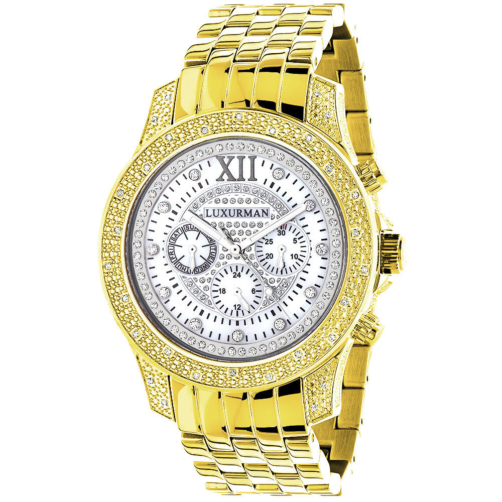 Luxurman Mens Diamond Watches: Raptor Yellow Gold Plated Watch 0.5ct Main Image