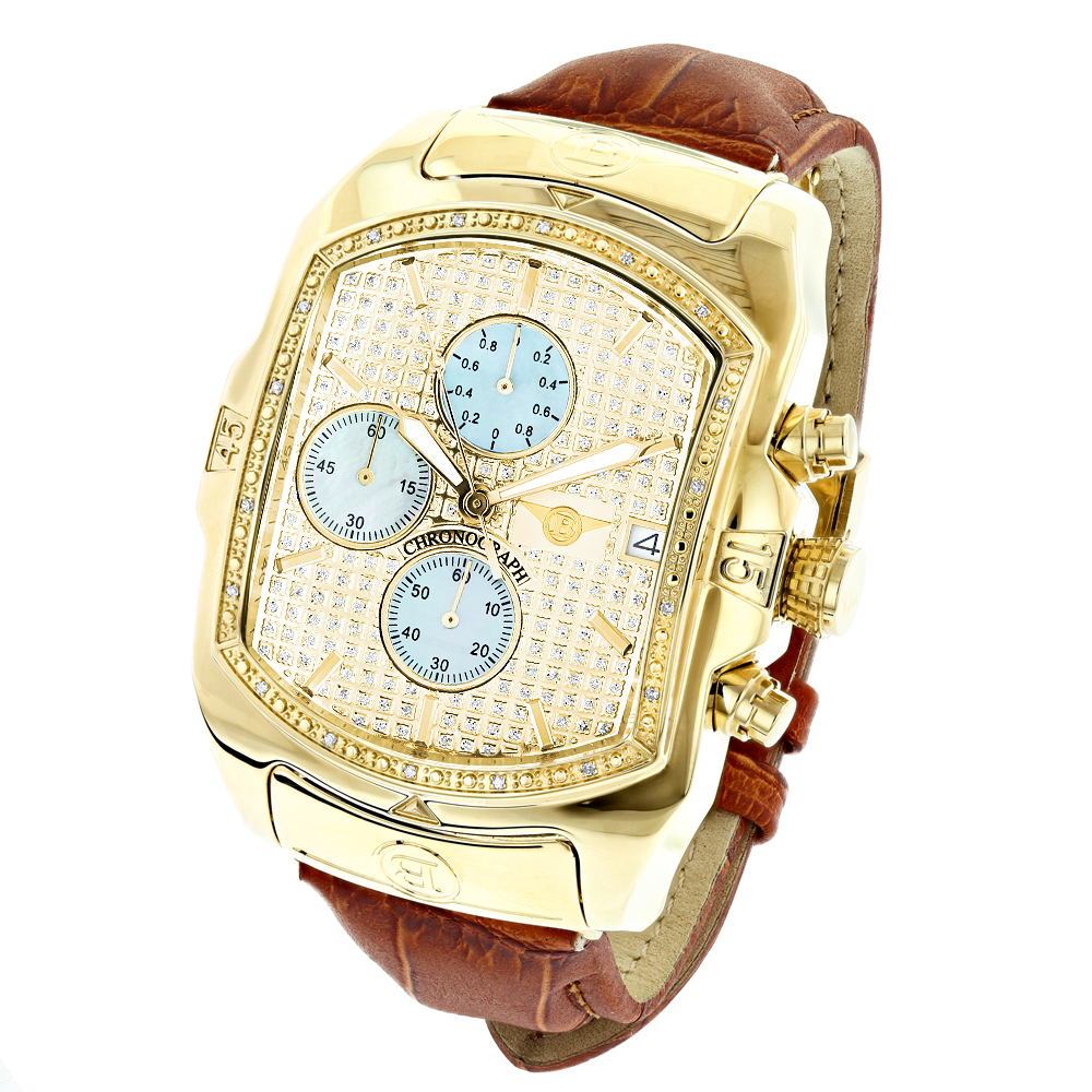 Luxurman Mens Diamond Watches: Yellow Gold Plated Bubble Watch Leather Band