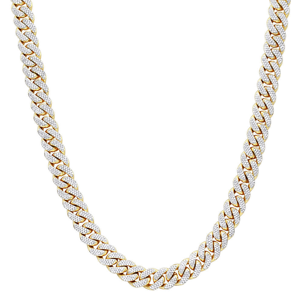 Luxurman Mens Necklaces 10k Gold Miami Cuban Link Chain with Diamonds 23ct Yellow Image