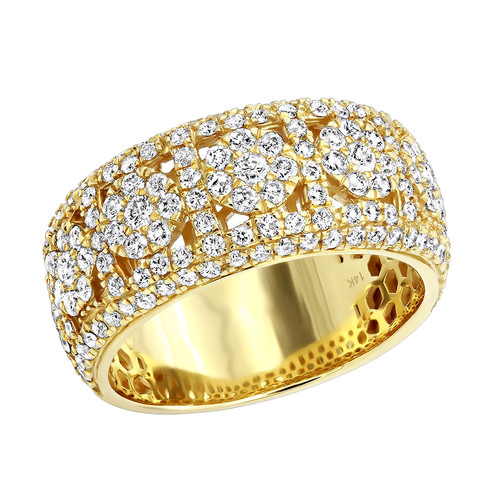 Luxurman Mens Rings 14k Gold Unique Mens Diamond Wedding Band 2.75ct Yellow Image