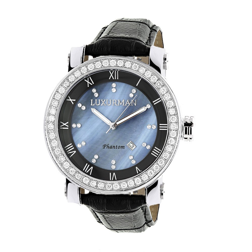 Luxurman Mens VS Diamond Bezel Watch 4 ct Blue MOP Main Image