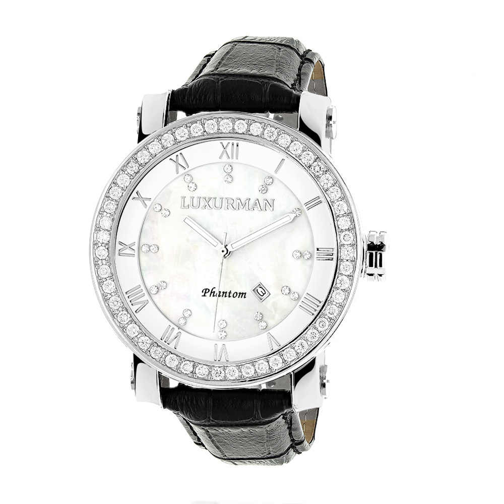 Luxurman Mens VS Diamond Watch 4 ct White MOP Main Image