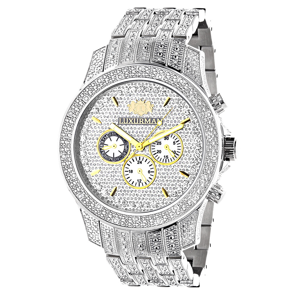 Luxurman Mens Watches Genuine Diamond Watch 1.25ct Main Image